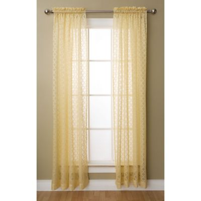 High Quality Glenbrook 63 Inch Rod Pocket Sheer Window Curtain Panel In Yellow