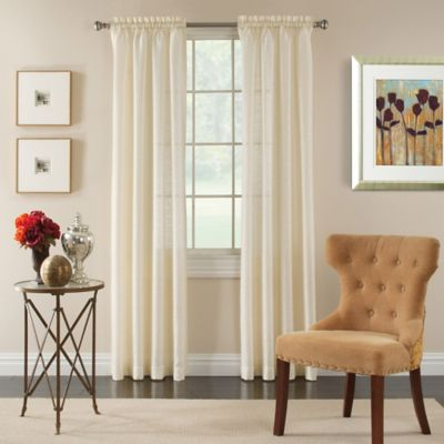 Pippa 84 Inch Rod Pocket Semi Sheer Window Curtain Panel In Ivory