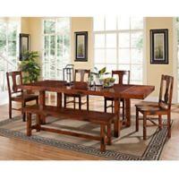 Walker Edison Wood 6-Piece Dining Set in Dark Oak