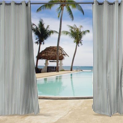 sunbrella lido 84inch grommet top curtain panel in indigo