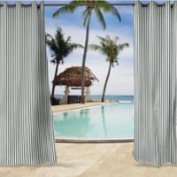 Sunbrella® Lido 84-Inch Grommet Top Indoor/Outdoor Curtain Panel in Indigo/White