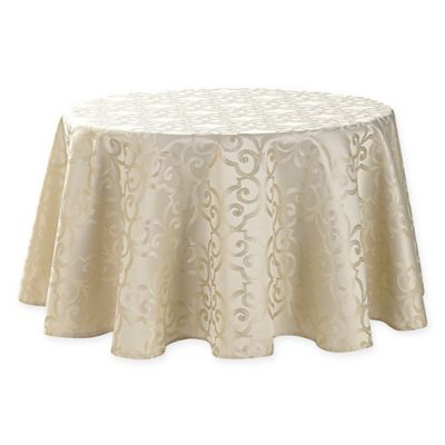 Waterford® Linens Sorelle 90 Inch Round Tablecloth In Ivory