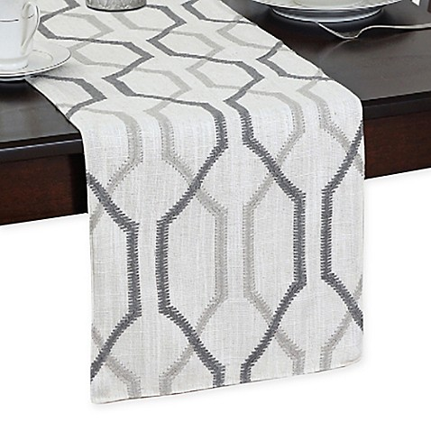 Softline 90 Inch Ashby Table Runner In Silver Bed Bath