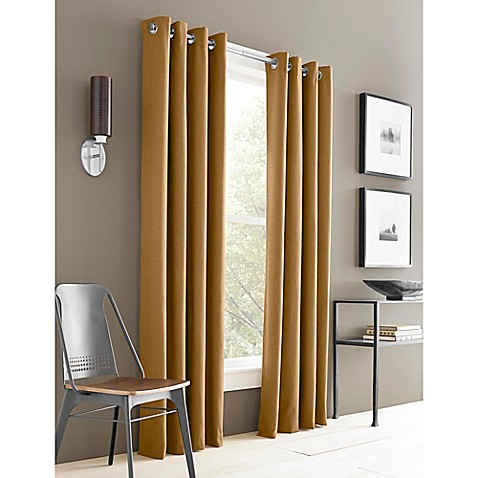 buy j queen new york adorn 84 inch grommet top window curtain panel in gold from bed bath beyond. Black Bedroom Furniture Sets. Home Design Ideas