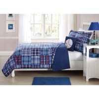 Plaid Patch 3-Piece Twin Quilt Set in Blue/Red