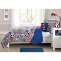 Sports Express 3-Piece Twin Quilt Set in Red/Blue