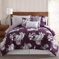 Peony Garden 12-Piece Floral Queen Comforter Set in Blue