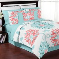 Sweet Jojo Designs Emma Queen Comforter Set in White/Turquoise