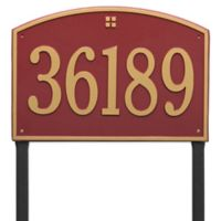 Whitehall Products Cape Charles Personalized Address Plaque in Red/Gold