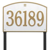 Whitehall Products Cape Charles Personalized Address Plaque in White/Gold