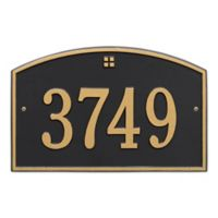 Whitehall Products™ Cape Charles 1- Line Address Plaque in Black/Gold