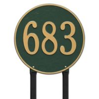 Whitehall Products Rochelle 15-Inch Round Lawn Address Plaque in Red/Gold