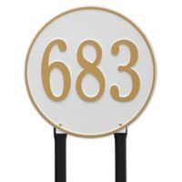 Whitehall Products Rochelle 15-Inch Round Lawn Address Plaque in Copper