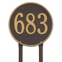 Whitehall Products Rochelle 15-Inch Round Lawn Address Plaque in Pewter Silver