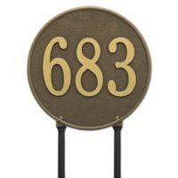 Whitehall Products Rochelle 15-Inch Round Lawn Address Plaque in Bronze