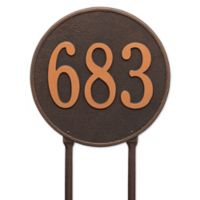Whitehall Products Rochelle 15-Inch Round Lawn Address Plaque in Black/Gold