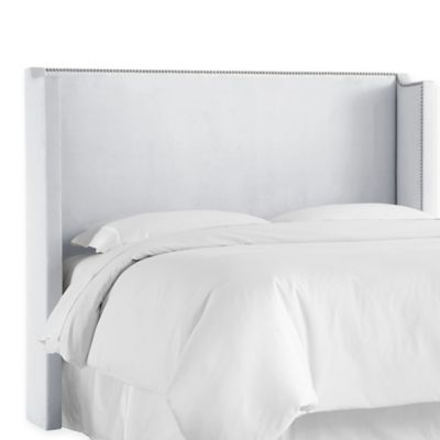 modway shiloh full microsuede wingback headboard in white