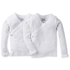 Gerber 174 2 Pack Side Snap Long Sleeve Shirts In White