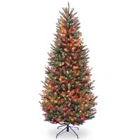 National Tree Company 7.5-Foot Natural Fraser Pre-Lit Slim Fir Christmas Tree with Multicolor Lights