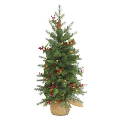 national tree 3 foot nordic spruce battery operated berry christmas tree with warm white - Christmas Trees With Lights