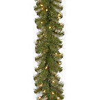 National Tree Company 9-Foot x 10-Inch North Valley Spruce Garland with Clear Lights