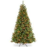 National Tree Company 7-Foot 6-Inch North Valley Spruce Hinged Christmas Tree w/Multi-Color Lights