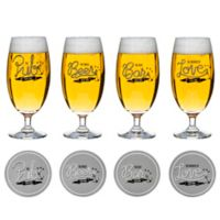 Sagaform® Club Decorated Beer Glass with Coaster (Set of 4)