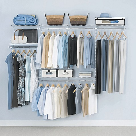 Rubbermaid® 4 Foot To 8 Foot Closet Organizer Kit In White