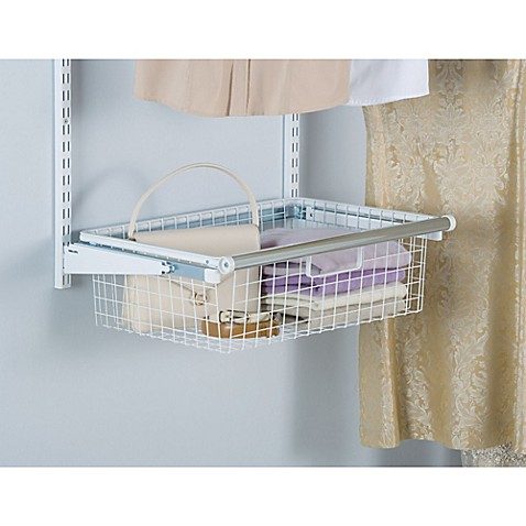 rubbermaid sliding storage basket for closet organizer