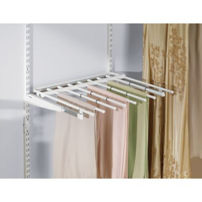 Rubbermaid® 7 Rod Sliding Pants Rack For Closet Organizer In White