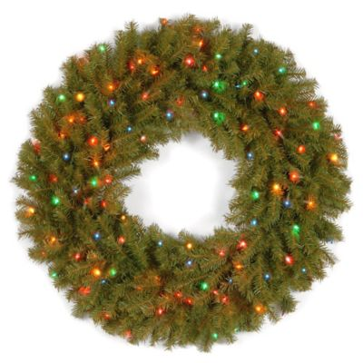 national tree company 36 inch norwich fir wreath with multi colored lights - Christmas Wreaths With Lights