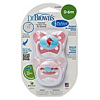 Dr. Brown S 2 Pack Dr.brown Prevent Butterfly 2pk Paci Pk Stg1 0-6m Pink