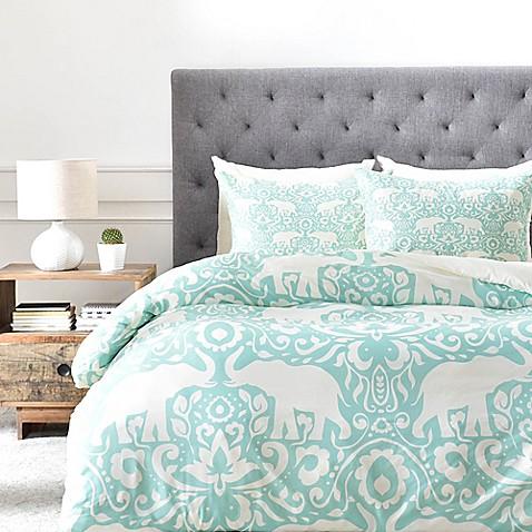 Deny Designs Elephant Duvet Cover In Green Bed Bath Amp Beyond