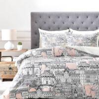 DENY Designs Paris Toile Sugar Pink Queen Duvet Cover