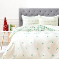 DENY Designs Social Proper Holiday Sweater King Duvet Cover in Green