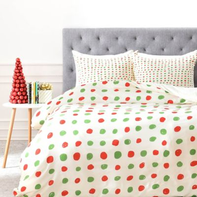 Deny Designs Leah Flores Holiday Polka Dots Twin Duvet Cover In Red