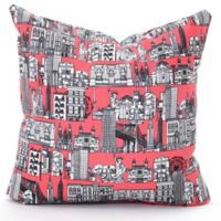 DENY Designs NY 18-Inch Square Throw Pillow in Coral