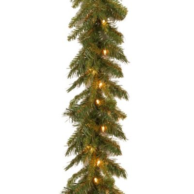 National Tree 9-Foot by 10-Inch Tiffany Fir Garland with Clear Lights