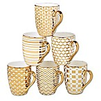 Certified International Elegance Gold 16 oz. Tapered Mugs (Set of 6)