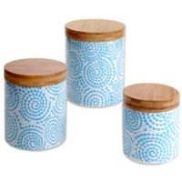 Certified International Chelsea Aqua Swirl 3-Piece Canister Set