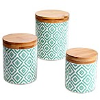 Certified International Chelsea Green Ikat 3-Piece Canister Set