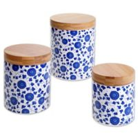 Certified International Chelsea Indigo Poppy 3-Piece Canister Set