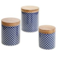 Certified International Chelsea Indigo Quaterfoil 3-Piece Canister Set