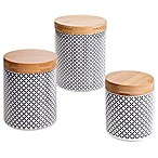 Certified International Chelsea Black Floral Lattice 3-Piece Canister Set