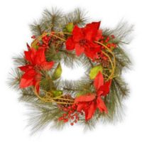 National Tree Company 24-Inch Red Poinsettia Wreath