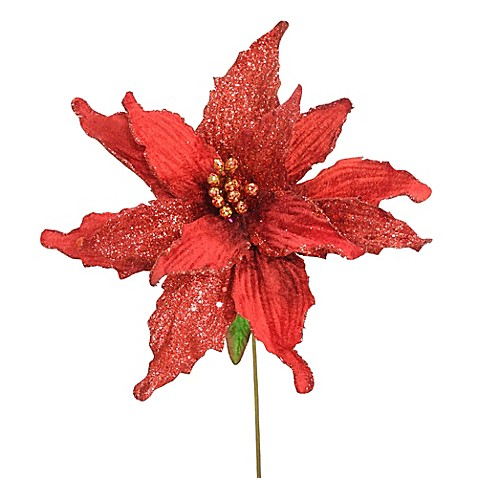 National Tree Company Red Poinsettias Set Of 12 Bed