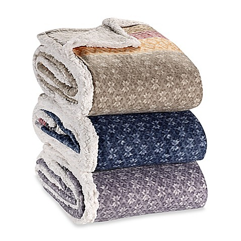 Eddie Bauer® Fairisle Collection Sherpa Throw Blanket - Bed Bath ...