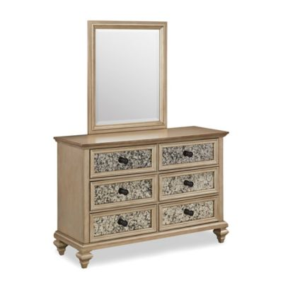 Home Styles Visions 6 Drawer Dresser And Mirror In Silver