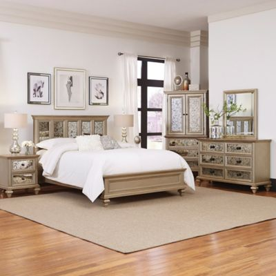Home Styles Visions 5 Piece Queen Bedroom Set In Silver