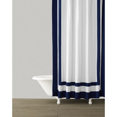 Kassatex Edge Frame Shower Curtain In Navy
